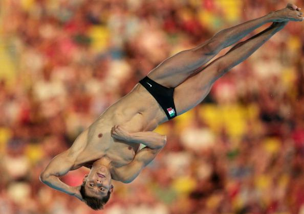 LONDON, ENGLAND - AUGUST 11:  German Sanchez Sanchez of Mexico competes in the Men's 10m Platform Diving Semifinal on Day 15 of the London 2012 Olympic Games at the Aquatics Centre on August 11, 2012 in London, England.  (Photo by Adam Pretty/Getty Images)