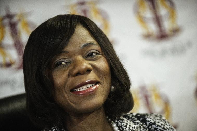 South African Public Protector Thuli Mandosela gives a press briefing at her office on August 28, 2014 in Pretoria, South Africa