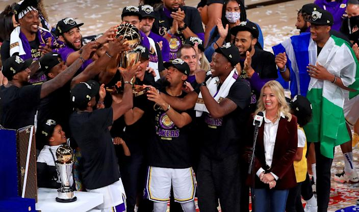 Jeanie Buss and the Los Angeles Lakers after they won the 2020 NBA Finals