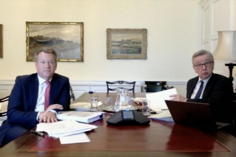David Frost (left) and Cabinet minister Michael Gove discussed the next round of talks at Lords EU committee: Parliament TV