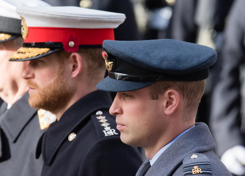 LONDON, ENGLAND - NOVEMBER 11:  Prince Harry, Duke of Sussex and Prince William, Duke of Cambridge attend the annual Remembrance Sunday memorial on November 11, 2018 in London, England.  (Photo by Samir Hussein/WireImage)