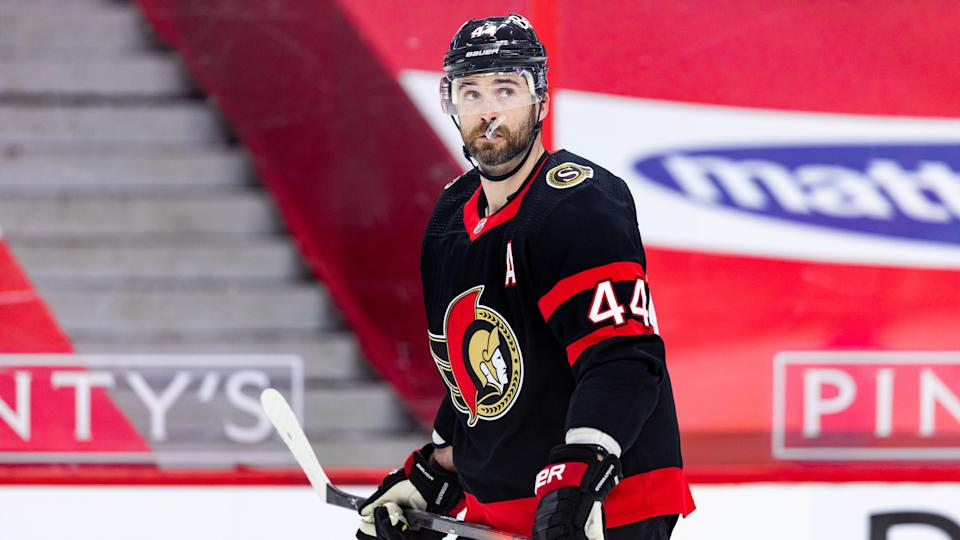 OTTAWA, ON - APRIL 08: Ottawa Senators Defenceman Erik Gudbranson (44) waits while there is a TV timeout during first period National Hockey League action between the Edmonton Oilers and Ottawa Senators on April 8, 2021, at Canadian Tire Centre in Ottawa, ON, Canada. (Photo by Richard A. Whittaker/Icon Sportswire via Getty Images)