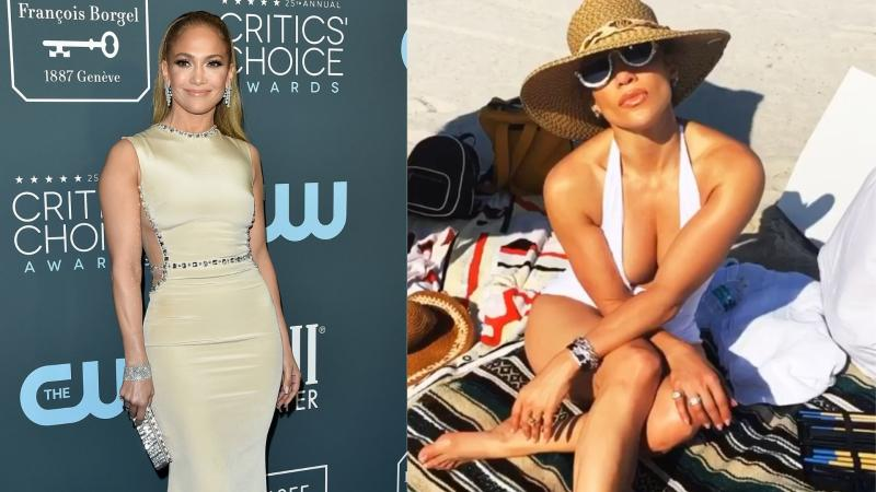 Jennifer Lopez hit the beach in a plunging v-neck swimsuit. Image via Getty Images/Instagram.