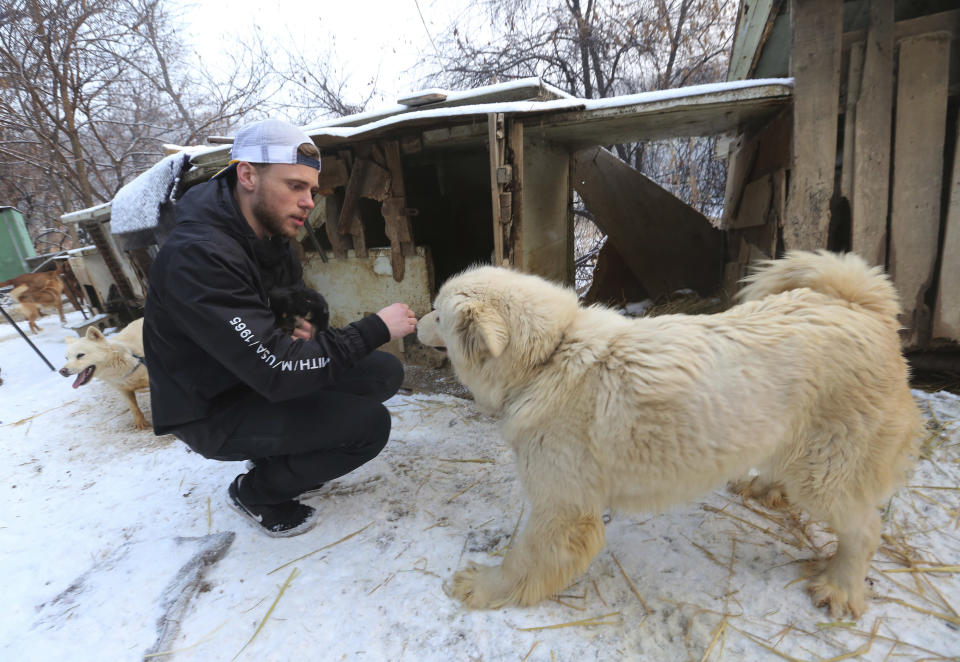 American freestyle skier Gus Kenworthy plays with a dog at a dog meat farm in Siheung, South Korea. (AP)
