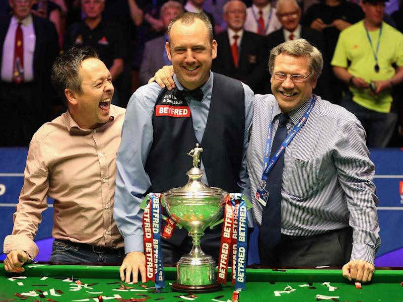 Feeney, right, with Mark Williams and the man who brought them together, Lee Walker (Getty)