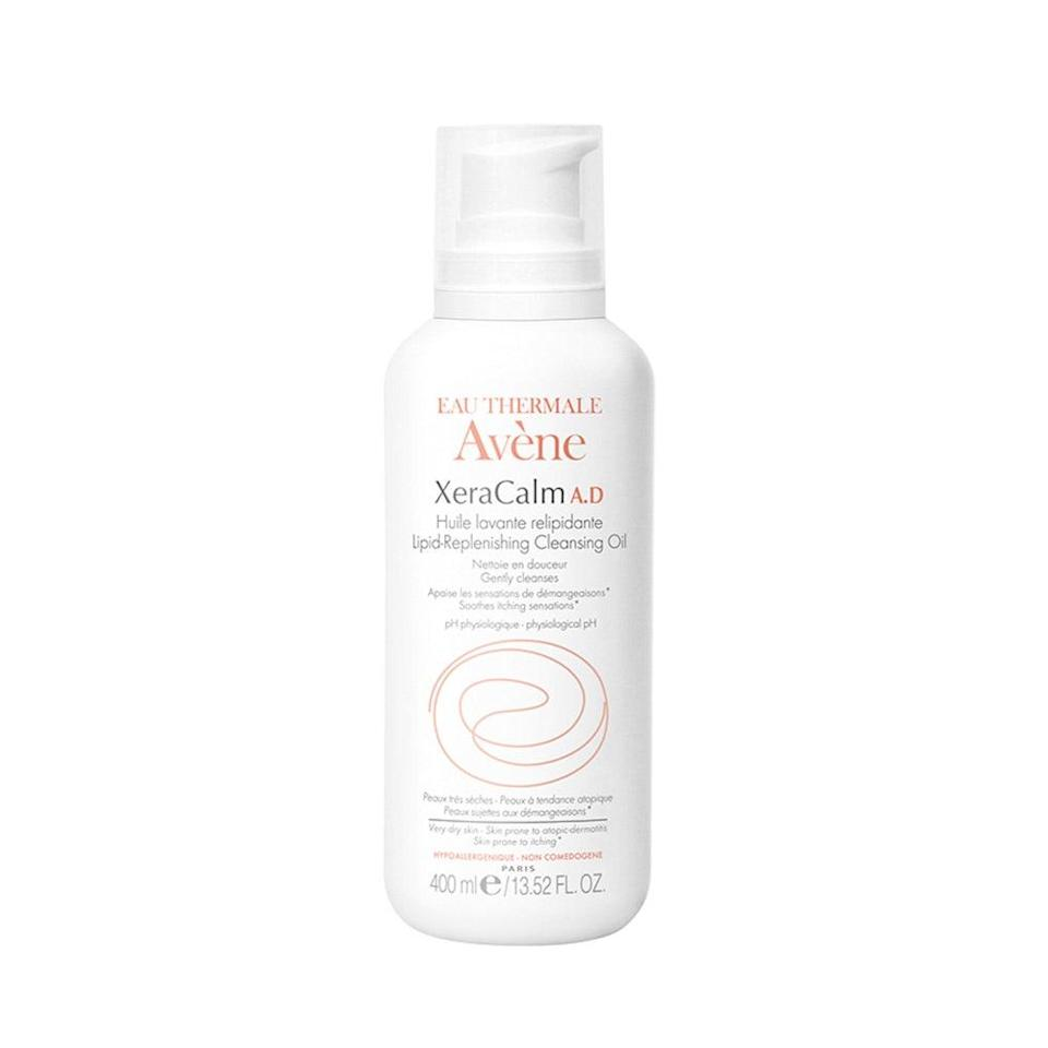 """<p>Wipe away makeup, dirt, and grime with Eau Thermale Avène's XeraCalm A.D Lipid-Replenishing Cleansing Oil, which will also prime your skin to help prevent itch and irritation.</p> <p><strong>$32</strong> (<a href=""""https://shop-links.co/1682751972880744659"""" rel=""""nofollow noopener"""" target=""""_blank"""" data-ylk=""""slk:Shop Now"""" class=""""link rapid-noclick-resp"""">Shop Now</a>)</p>"""