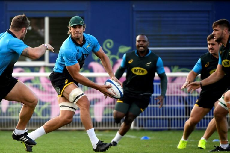South Africa's captain and lock Eben Etzebeth passes the ball during a training session at the Stade du Saut du Loup in Paris, on November 13, 2017