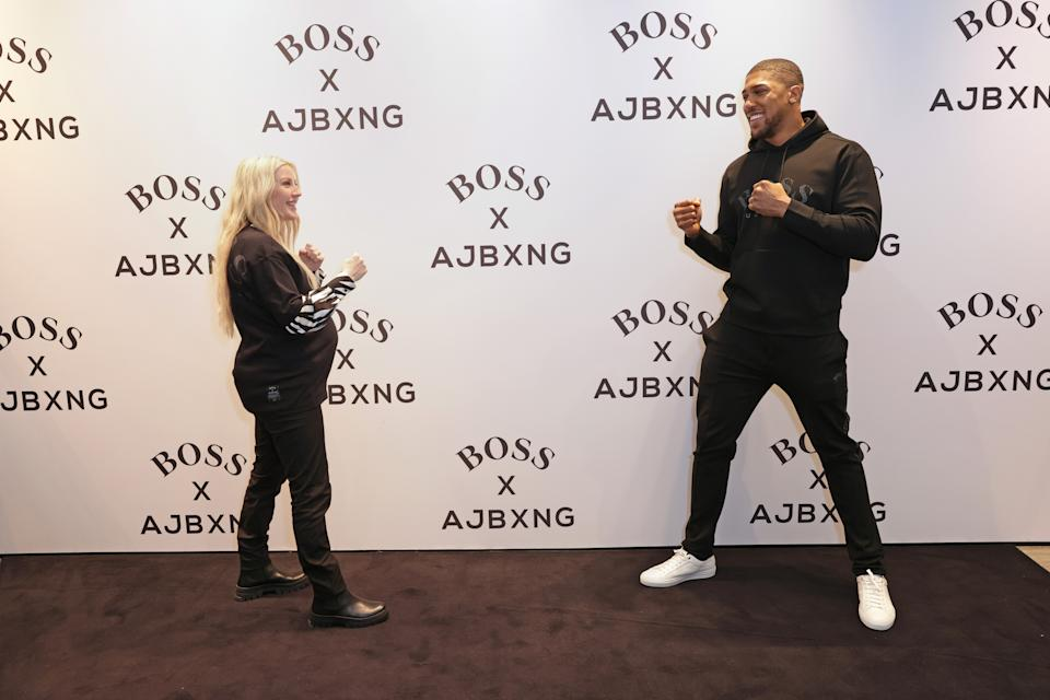 LONDON, ENGLAND - FEBRUARY 24:   Ellie Goulding and Anthony Joshua attend the unveiling of the BOSS x AJBXNG second capsule collection at BOSS Store, Regent Street, on February 24, 2021 in London, England.  (Photo by David M. Benett/Dave Benett/Getty Images for BOSS)