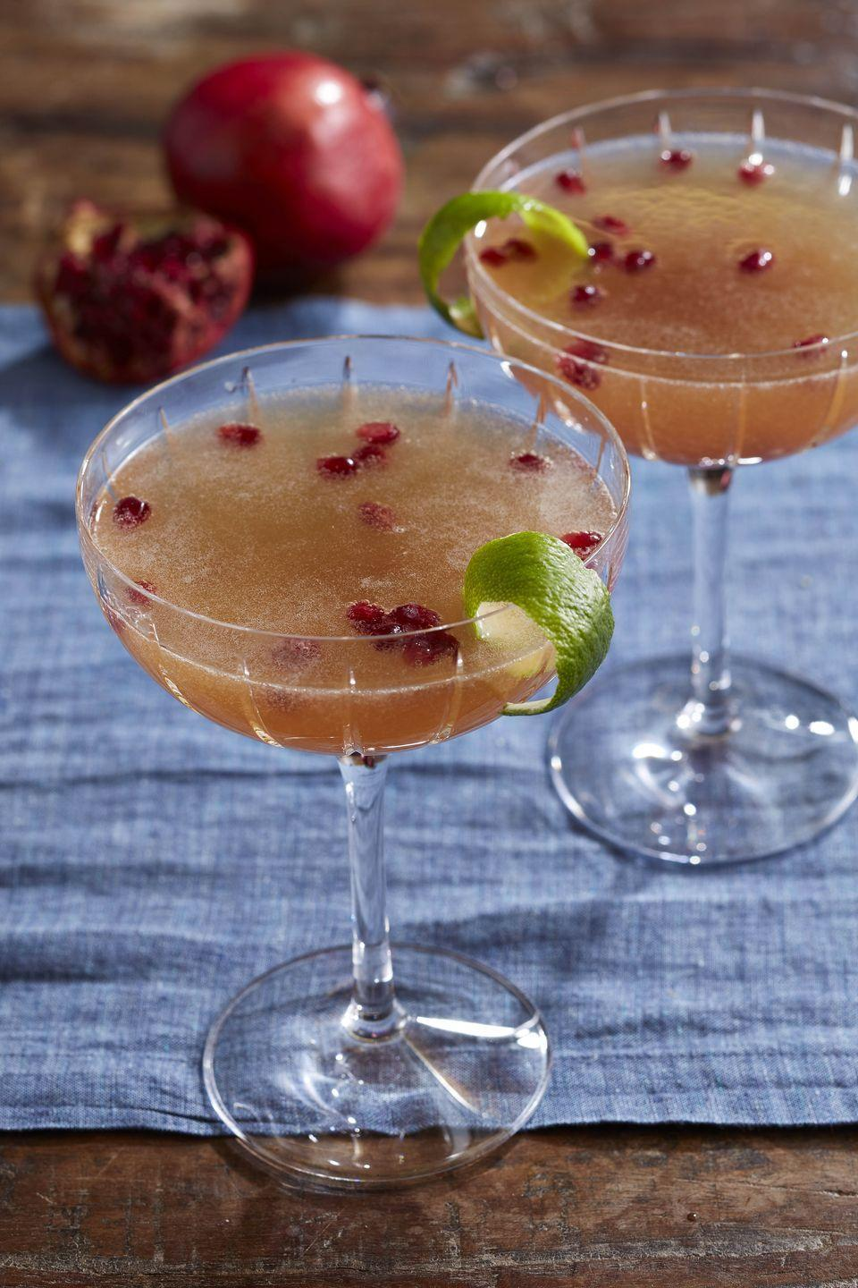 """<p><em>Casablanca</em> fans know all about this classic, elegant gin and Champagne cocktail, which is perfect for hoisting at midnight. We give it a seasonal tweak with the addition of pomegranate.</p><p><strong><a href=""""https://www.countryliving.com/food-drinks/a34347813/pomegranate-french-75-recipe/"""" rel=""""nofollow noopener"""" target=""""_blank"""" data-ylk=""""slk:Get the recipe"""" class=""""link rapid-noclick-resp"""">Get the recipe</a>.</strong></p><p><a class=""""link rapid-noclick-resp"""" href=""""https://www.amazon.com/dp/B07YBJ483D?tag=syn-yahoo-20&ascsubtag=%5Bartid%7C10050.g.2872%5Bsrc%7Cyahoo-us"""" rel=""""nofollow noopener"""" target=""""_blank"""" data-ylk=""""slk:SHOP BAR TOOLS"""">SHOP BAR TOOLS</a></p>"""
