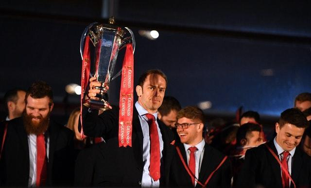 Alun Wyn Jones lifts the Six Nations trophy during the 2019 Grand Slam winners celebration welcome at the Senedd in Cardiff Bay
