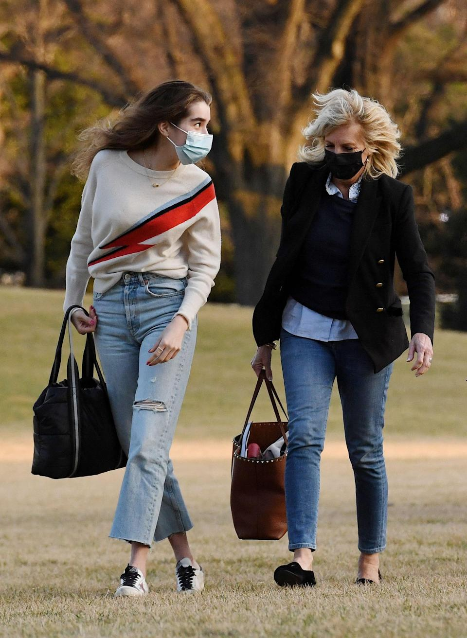 """<p>For casual travel days, Dr. Biden has been spotted in her skull Stubbs and Wootton slippers, which <a href=""""https://stubbsandwootton.com/products/skull-women-slipper?_pos=3&amp;_sid=deef3ecb4&amp;_ss=r&amp;variant=35913918924"""" class=""""link rapid-noclick-resp"""" rel=""""nofollow noopener"""" target=""""_blank"""" data-ylk=""""slk:retail for $500"""">retail for $500</a> and are hand-crafted in Spain. The skull embroidery is proof Biden is more than willing to add a touch of personality to her looks - and that she's realistic about navigating the lawn in sensible flat loafers, rather than heels. Stubbs and Wootton, founded in the early '90s in Palm Beach, Florida, prides itself on making luxury, bespoke slippers relevant.</p>"""