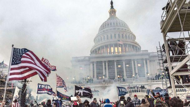 PHOTO: Security forces respond with tear gas after the US President Donald Trump's supporters breached the US Capitol security in Washington, Jan. 6, 2021. (LightRocket via Getty Images, FILE)