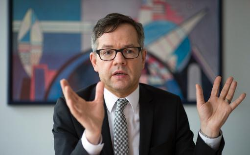 Minister of State of the Foreign Ministry Michael Roth during an interview in Berlin on February 20, 2014