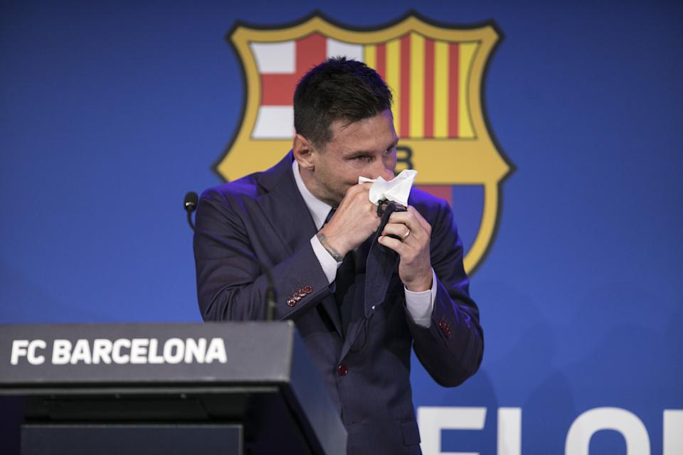 Lionel Messi bid an emotional farewell to Barcelona on Sunday. (Photo by Adria Puig/Anadolu Agency via Getty Images)