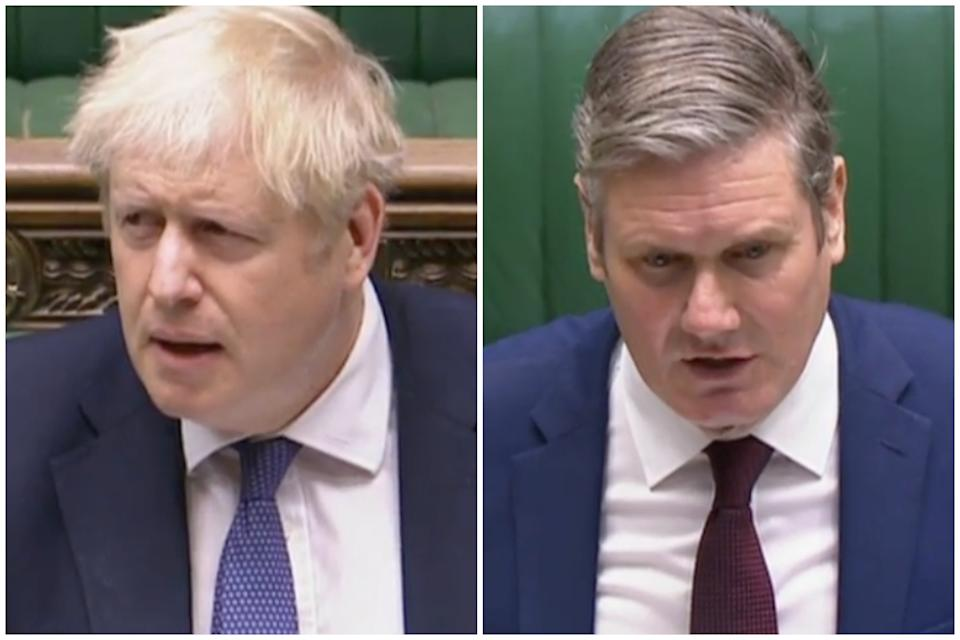 Boris Johnson reacts after Sir Keir Starmer accuses him of 'bargaining with people's lives' over the Tier 3 lockdown in Greater Manchester. (Parliamentlive.tv)