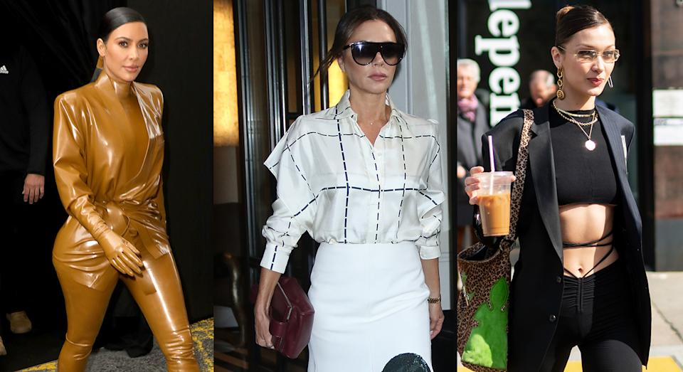 Kim Kardashian, Victoria Beckham and Bella Hadid are among celebrities giving us all the quarantine style inspiration we need. (Getty Images)