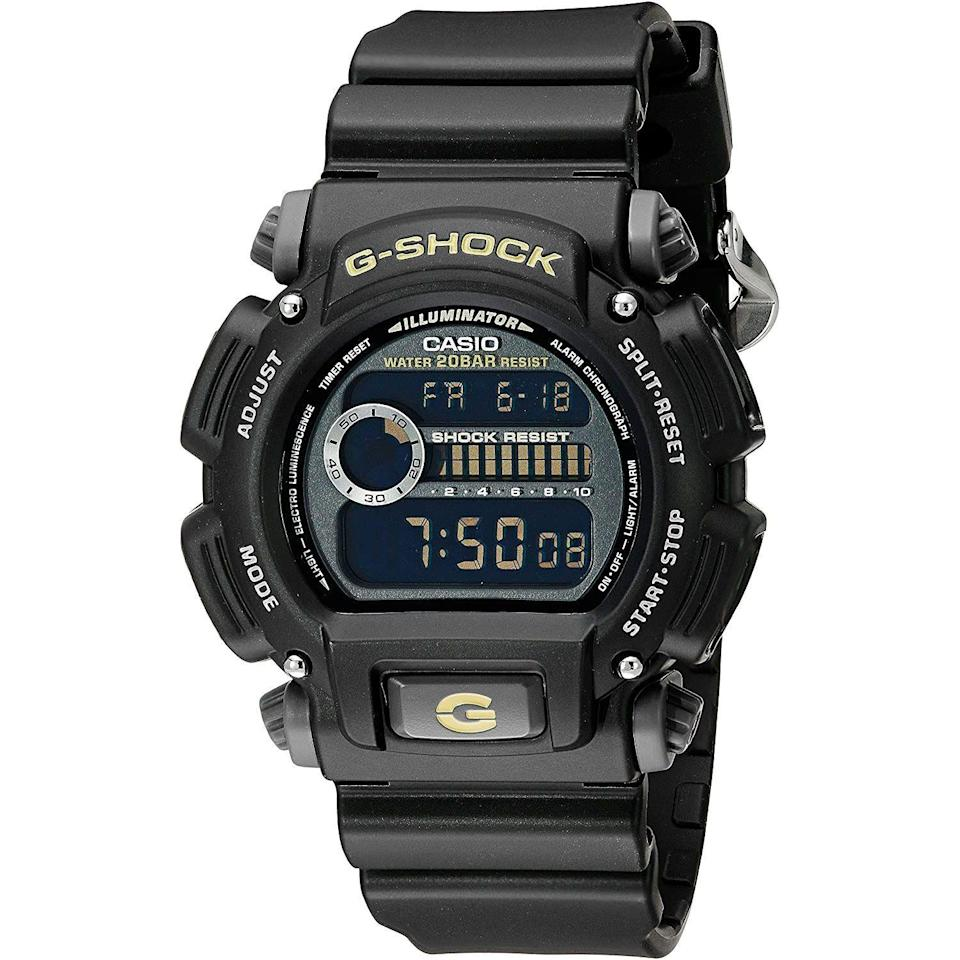 """<p><strong>G-Shock</strong></p><p>amazon.com</p><p><strong>$60.42</strong></p><p><a href=""""https://www.amazon.com/dp/B00BIP75L8?tag=syn-yahoo-20&ascsubtag=%5Bartid%7C10054.g.35351418%5Bsrc%7Cyahoo-us"""" rel=""""nofollow noopener"""" target=""""_blank"""" data-ylk=""""slk:Shop Now"""" class=""""link rapid-noclick-resp"""">Shop Now</a></p><p>More functions than you'll ever need and so durable you'll never break it. It's the definitional overbuilt watch, and it's barely more than 50 bucks.</p>"""