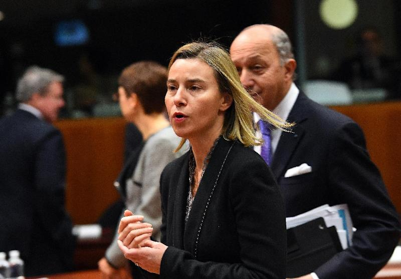 EU foreign policy chief Federica Mogherini arrives to a meeting of the EU Foreign Affairs Council (FAC) in Brussels, on December 15, 2014 (AFP Photo/Emmanuel Dunand)