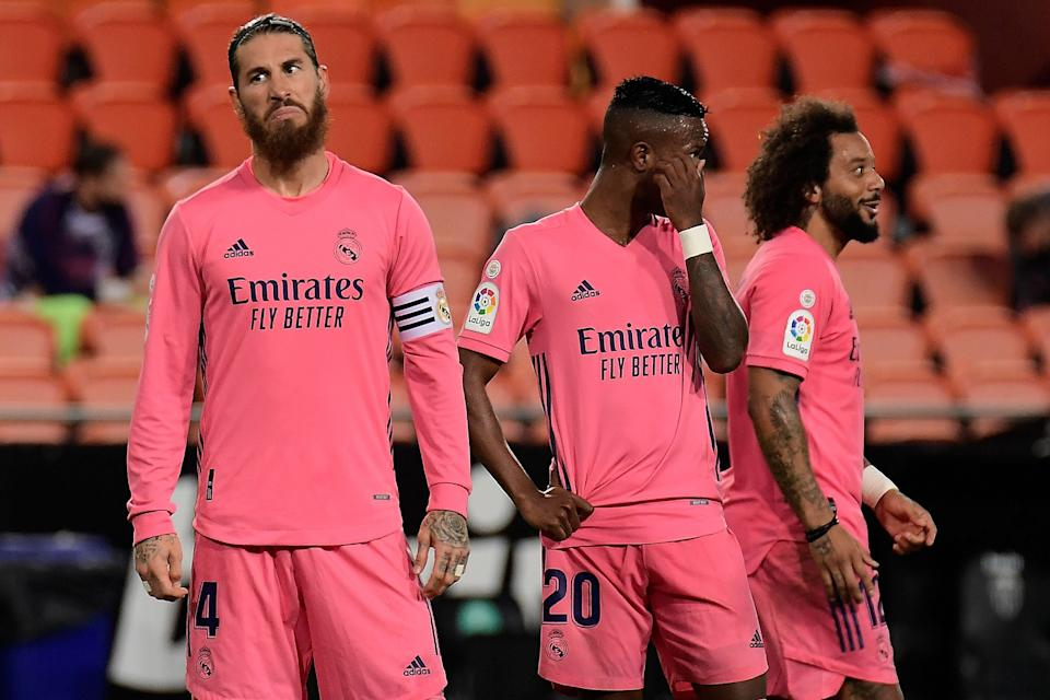 Real Madrid captain Sergio Ramos reacts to the 4-1 defeat by ValenciaAFP via Getty Images