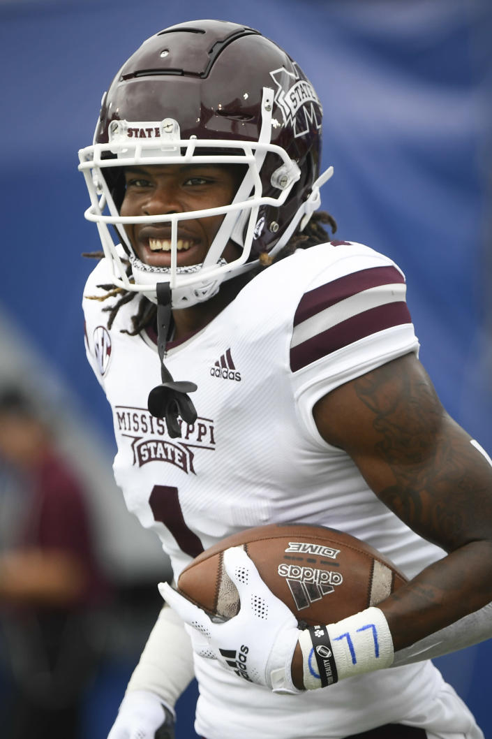 Mississippi State cornerback Martin Emerson (1) warms up before an NCAA football game against Memphis on Saturday, Sept. 18, 2021, in Memphis, Tenn. (AP Photo/John Amis)