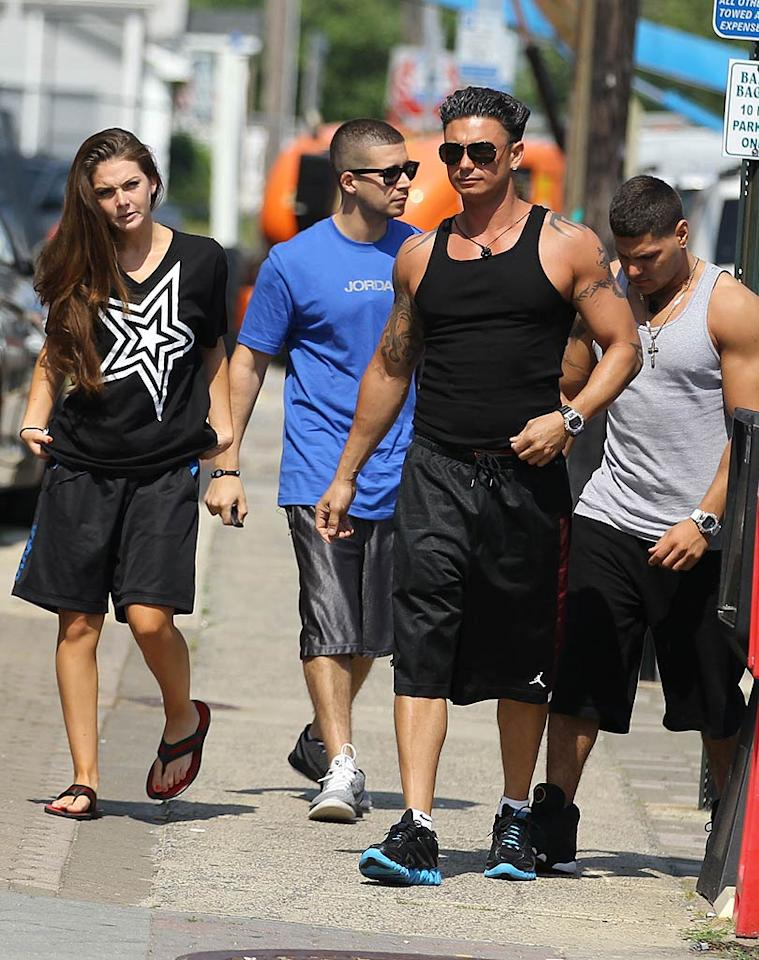 """Pauly D didn't waste any time and got right back into the groove, getting together with Snooki's friend Ryder (far left), who happened to end up wearing the same T-shirt Pauly was wearing the night before. Hmm ... Brian Prahl/Jackson Lee/<a href=""""http://www.splashnewsonline.com"""" target=""""new"""">Splash News</a> - June 28, 2011"""