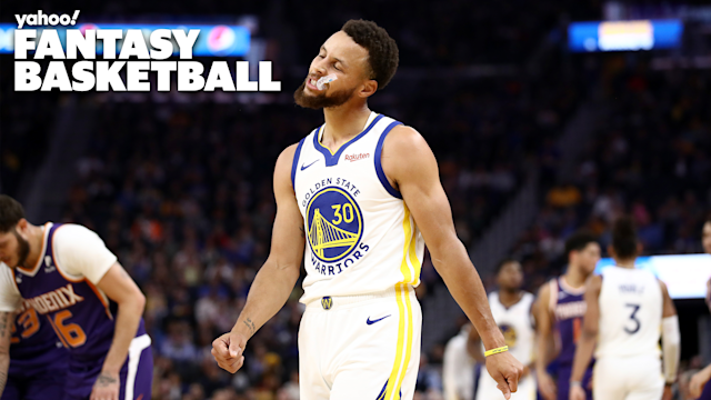 "Stephen Curry of the <a class=""link rapid-noclick-resp"" href=""/nba/teams/golden-state/"" data-ylk=""slk:Golden State Warriors"">Golden State Warriors</a> reacts during the first half of their game against the <a class=""link rapid-noclick-resp"" href=""/nba/teams/phoenix/"" data-ylk=""slk:Phoenix Suns"">Phoenix Suns</a> at Chase Center on October 30, 2019 in San Francisco, California. (Photo by Ezra Shaw/Getty Images)"