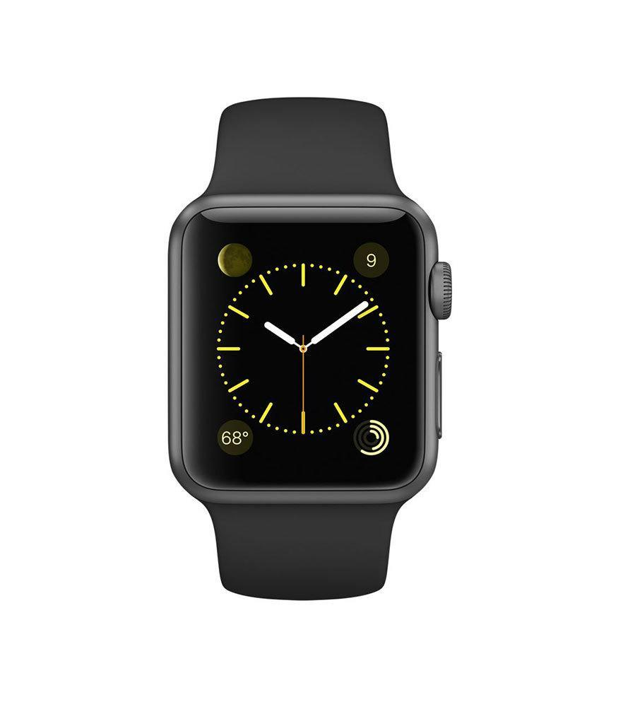 "<p>Apple Watch 38mm Space Gray Aluminum Case with Black Sport Band, $349, <a href=""http://www.apple.com/shop/buy-watch/apple-watch-sport/38mm-space-gray-aluminum-case-black-sport-band?product=MJ2X2LL/A&step=detail#"" rel=""nofollow noopener"" target=""_blank"" data-ylk=""slk:apple.com"" class=""link rapid-noclick-resp"">apple.com</a><br><br></p>"