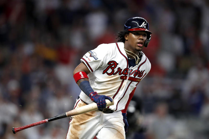 ATLANTA, GEORGIA - OCTOBER 03: Ronald Acuna Jr. #13 of the Atlanta Braves watches his hit for a single against the St. Louis Cardinals during the seventh inning in game one of the National League Division Series at SunTrust Park on October 03, 2019 in Atlanta, Georgia. (Photo by Todd Kirkland/Getty Images)