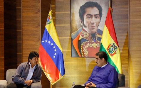 <span>Evo Morales, president of Bolivia, flew into Venezuela on Friday to offer Mr Maduro his support</span>