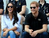 """<p>At the same Invictus Games, Meghan sat relaxed with her legs crossed as she watched the event with her then boyfriend, Harry. No biggy for the rest of us, but according to Beaumont Etiquette, the royal-in-waiting should never cross her legs at the knee. Instead, she should keep her ankles and knees together at all times and either cross at the ankle or do the """"Duchess Slant"""". The famous etiquette term used to describe the way the Duchess of Cambridge and Princess Diana were taught to sit. <em>[Photo: Getty]</em> </p>"""