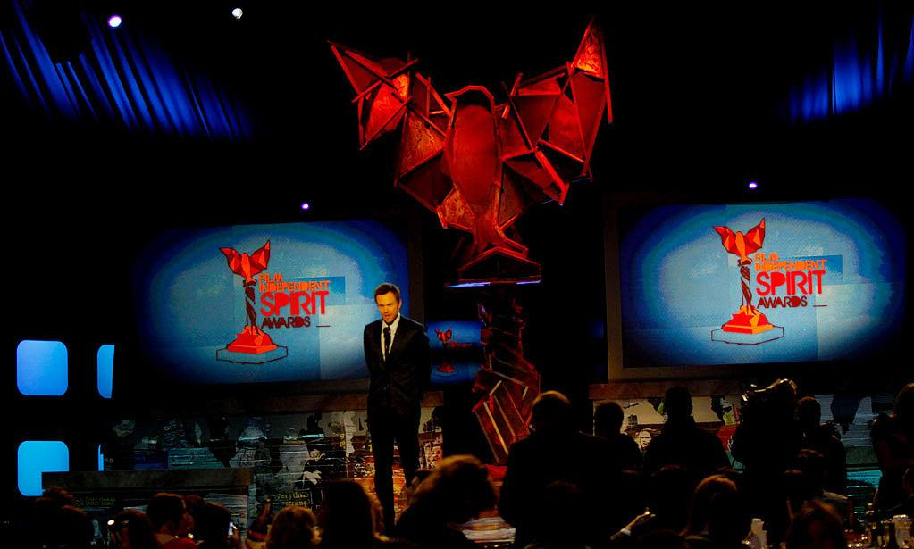 """BEST: The Opening Segment — The writers of this segment managed to trap Joel McHale under a rock, get Dale Dickey to bring her chainsaw from """"Winter's Bone,"""" dress Alex Trebek up like Banksy, get John Waters to introduce the show, and even throw in a dis of """"Greenberg."""" <a href=""""http://www.televisionwithoutpity.com/show/award_shows/independent_spirit_awards_2011.php?__source=tw