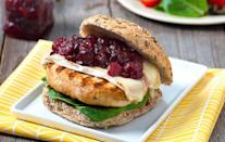 """<p>Counted among <a href=""""https://www.thedailymeal.com/our-50-best-burger-recipes-gallery?referrer=yahoo&category=beauty_food&include_utm=1&utm_medium=referral&utm_source=yahoo&utm_campaign=feed"""" rel=""""nofollow noopener"""" target=""""_blank"""" data-ylk=""""slk:our best burger recipes"""" class=""""link rapid-noclick-resp"""">our best burger recipes</a>, this turkey burger is topped with a homemade cranberry chutney you can make with any berries left over from yesterday's pie. </p> <p><a href=""""https://www.thedailymeal.com/best-recipes/turkey-burger-cranberry-chutney?referrer=yahoo&category=beauty_food&include_utm=1&utm_medium=referral&utm_source=yahoo&utm_campaign=feed"""" rel=""""nofollow noopener"""" target=""""_blank"""" data-ylk=""""slk:For the Turkey Burgers With Cranberry Chutney and Brie recipe, click here."""" class=""""link rapid-noclick-resp"""">For the Turkey Burgers With Cranberry Chutney and Brie recipe, click here.</a></p>"""