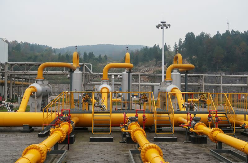 FILE PHOTO: A compressing station run by Sinopec is seen at Fuling shale gas field in Chongqing