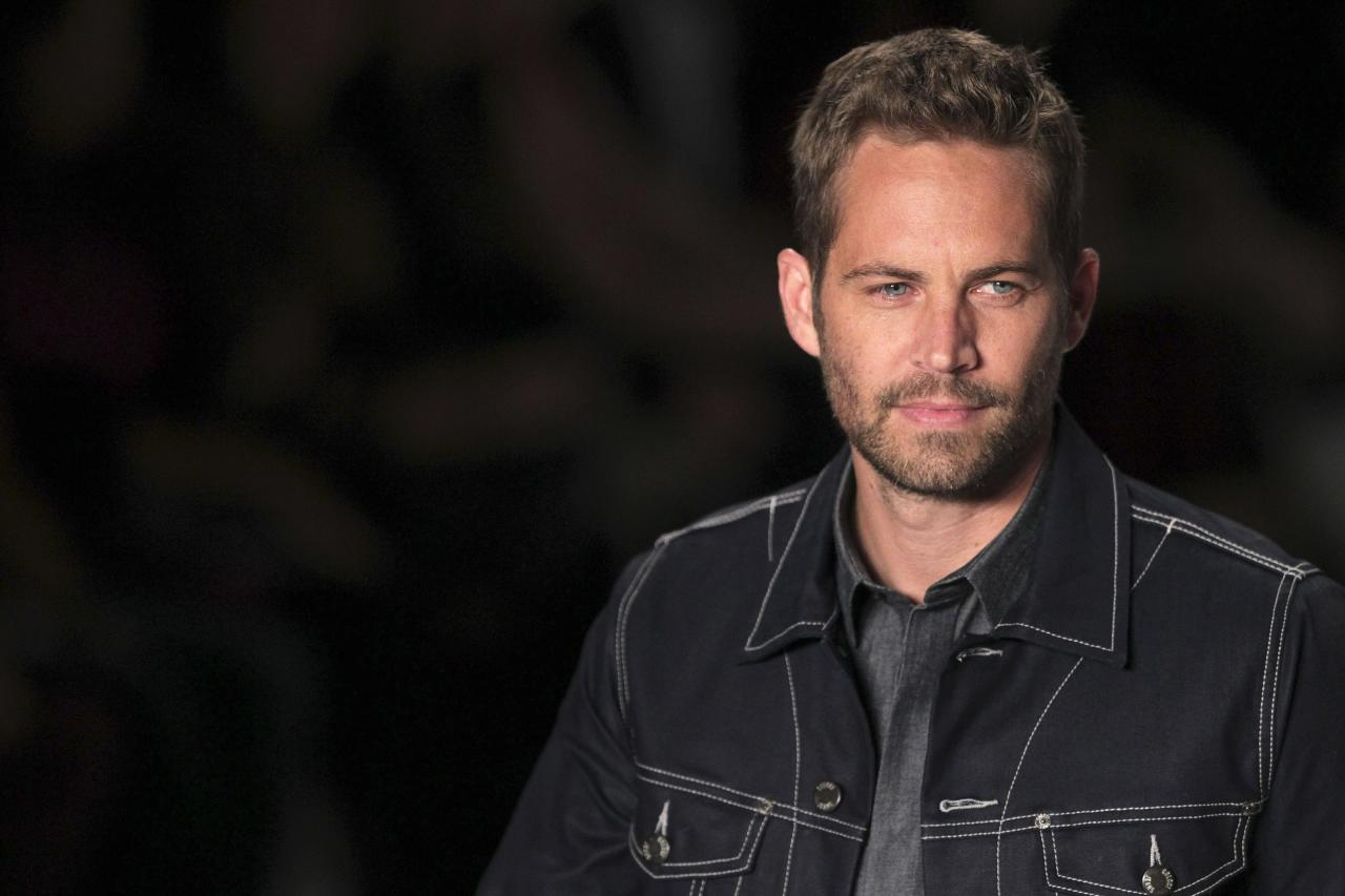 "U.S. actor Paul Walker presents a creation from Colcci's 2013/2014 summer collection during Sao Paulo Fashion Week in this March 21, 2013, file photo. No drugs or alcohol were found in the bodies of ""Fast & Furious"" actor Walker and his friend Roger Rodas after the fiery car crash that killed them in November, a coroner's report released on January 3, 2014, said. REUTERS/Filipe Carvalho/Files (BRAZIL - Tags: FASHION ENTERTAINMENT)"