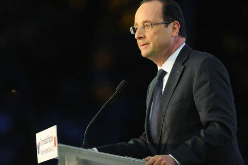 <p>France's President Francois Hollande delivers a speech in in Shanghai on April 26, 2013. An unusually virulent attack on Chancellor Angela Merkel by Hollande's party has raised the pressure on France's president to stand up to his German counterpart and reignited the austerity debate in the crisis-hit eurozone.</p>