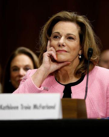 U.S. President Donald Trump's nominee for ambassador to Singapore K.T. McFarland testifies at the Senate Foreign Relations Committee hearing on her nomination on Capitol Hill in Washington, U.S. July 20, 2017.  REUTERS/Jonathan Ernst