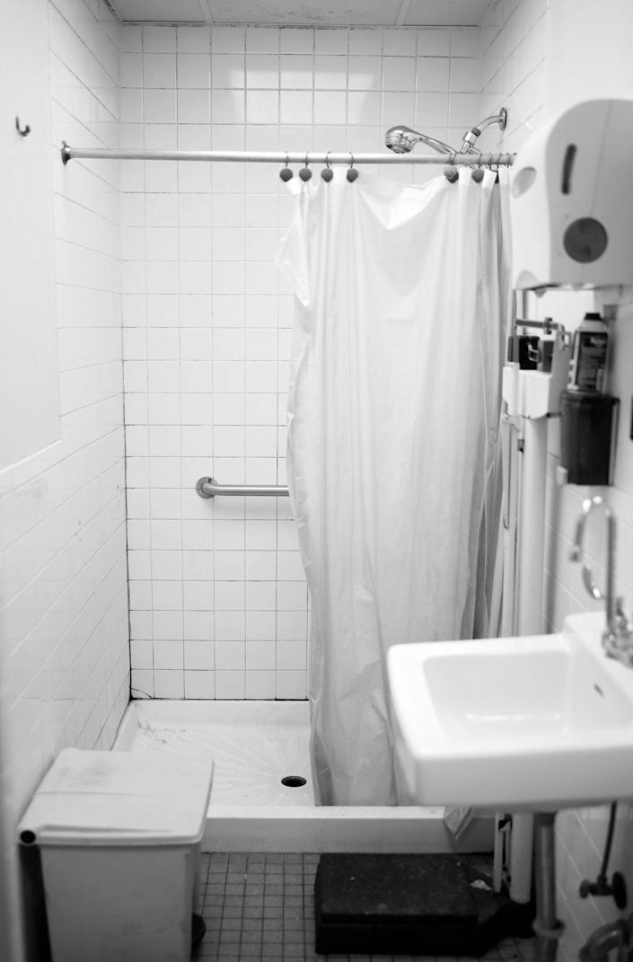 Image: A bathroom at the shelter. (Zac Hacmon)