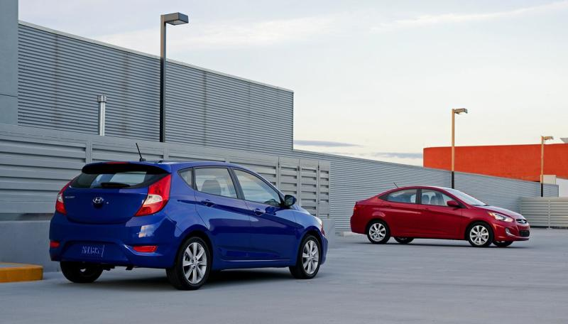 The high belt lines of the Hyundai Accent hatchback and sedan make for small rear windows.