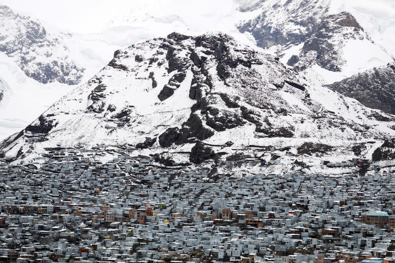Zinc houses stand in La Rinconada in the Andes