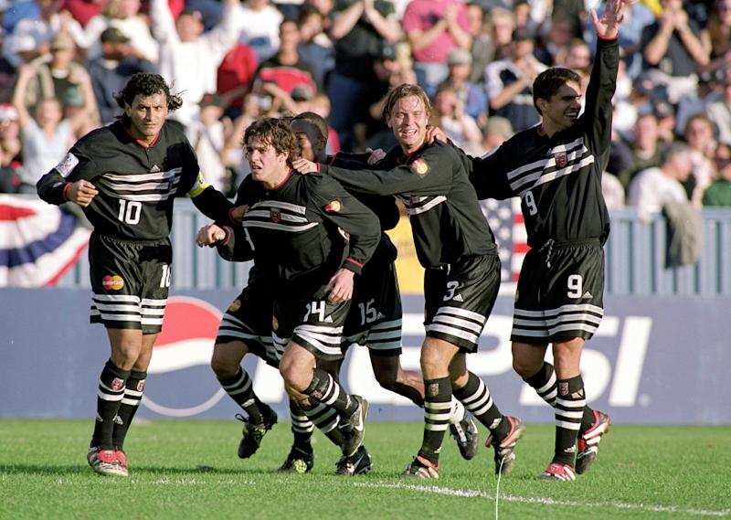 21 Nov 1999: Ben Olsen #14 MVP of the D.C. United celebrates with teammates after he makes a goal during the MLS Cup game against the Los Angeles Galaxy at the Foxboro Stadium in Foxboro, Massachusetts. The United defeated the Galaxy 2-0Mandatory Credit: Al Bello /Allsport