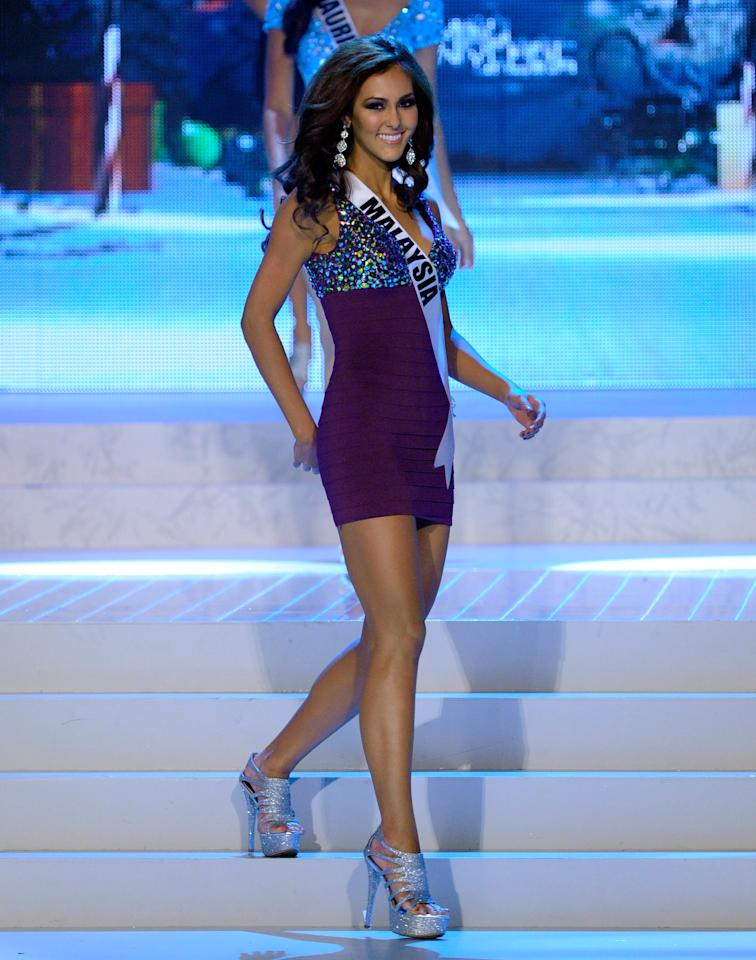 LAS VEGAS, NV - DECEMBER 19:  Miss Malaysia 2012, Kimberley Leggett, is introduced during the 2012 Miss Universe Pageant at PH Live at Planet Hollywood Resort & Casino on December 19, 2012 in Las Vegas, Nevada.  (Photo by David Becker/Getty Images)