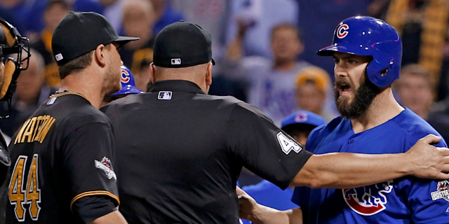 The Pirates and Cubs exchange words during the 2015 NL Wild Card game.