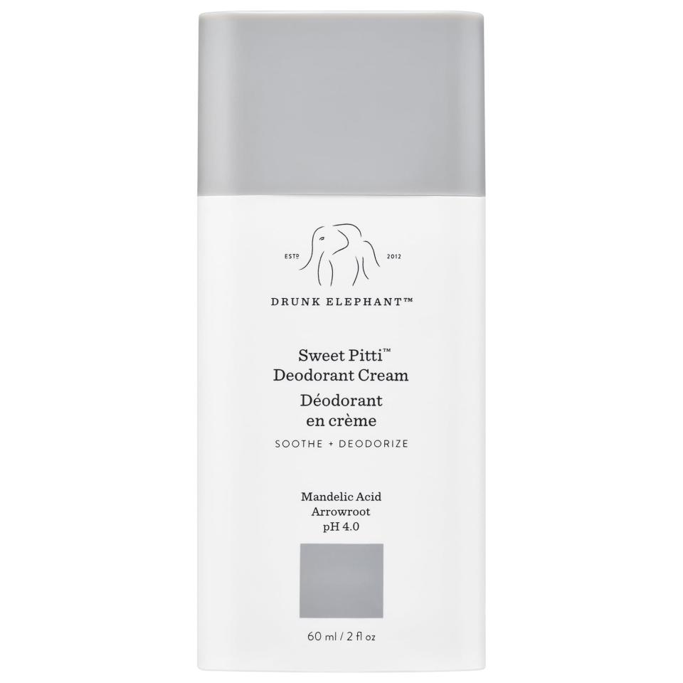 """<p><strong>Drunk Elephant</strong></p><p>sephora.com</p><p><strong>$16.00</strong></p><p><a href=""""https://go.redirectingat.com?id=74968X1596630&url=https%3A%2F%2Fwww.sephora.com%2Fproduct%2Fdrunk-elephant-sweet-pitti-deodorant-cream-P457685&sref=https%3A%2F%2Fwww.harpersbazaar.com%2Fbeauty%2Fskin-care%2Fg32415900%2Fbest-deodorant-for-women%2F"""" rel=""""nofollow noopener"""" target=""""_blank"""" data-ylk=""""slk:Shop Now"""" class=""""link rapid-noclick-resp"""">Shop Now</a></p><p>Drunk Elephant's breakthrough deodorant is creamier than most; as in, you can quite literally apply it with your fingers. </p>"""
