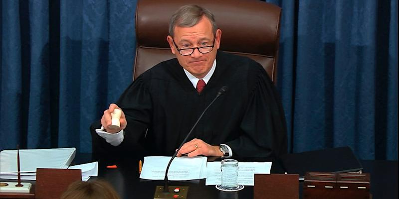 Supreme Court Chief Justice John Roberts gavels the end of the day at the impeachment trial against President Donald Trump at the U.S. Capitol in Washington, Thursday, Jan. 16, 2020.