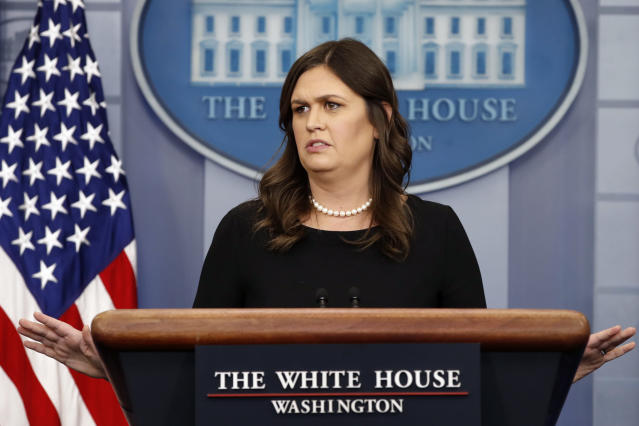 White House press secretary Sarah Sanders. (Photo: Jacquelyn Martin/AP)