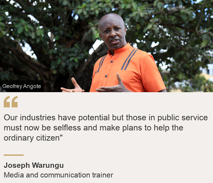"""""""Our industries have potential but those in public service must now be selfless and make plans to help the ordinary citizen"""""""", Source: Joseph Warungu, Source description: Media and communication trainer, Image: Joseph Warungu in front of Nairobi's famous fig tree"""