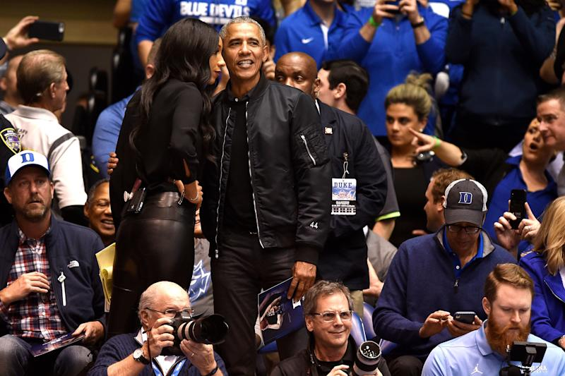 """Check out the """"44"""" on the sleeve of former President Barack Obama's bomber jacket. (Lance King via Getty Images)"""