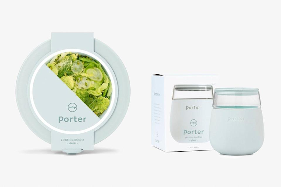 """Porter's sleek reusable bowl and glass set is great for picnickers, <a href=""""https://www.cntraveler.com/story/tsa-approved-utensils?mbid=synd_yahoo_rss"""" rel=""""nofollow noopener"""" target=""""_blank"""" data-ylk=""""slk:zero-waste lifestylers"""" class=""""link rapid-noclick-resp"""">zero-waste lifestylers</a>, and road trippers averse to drive-throughs. The spill-proof duo comes in a rainbow of sophisticated colors that will brighten up your on-the-go lunch—we love the blush and mint shades. $25, W&P Design (Glass). <a href=""""https://wandpdesign.com/collections/porter/products/the-porter-glass?variant=17792738623553"""" rel=""""nofollow noopener"""" target=""""_blank"""" data-ylk=""""slk:Get it now!"""" class=""""link rapid-noclick-resp"""">Get it now!</a>"""