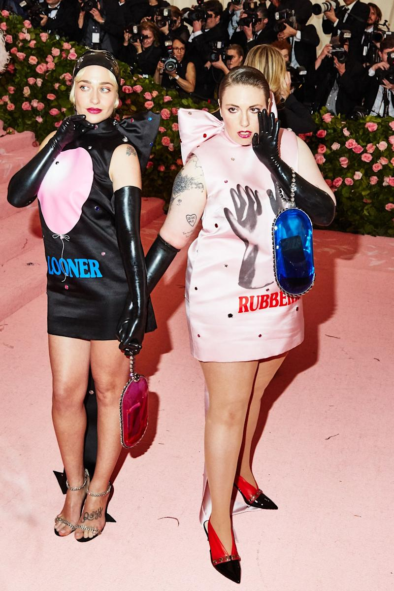 Jemima Kirke and Lena Dunham on the red carpet at the Met Gala in New York City on Monday, May 6th, 2019. Photograph by Amy Lombard for W Magazine.