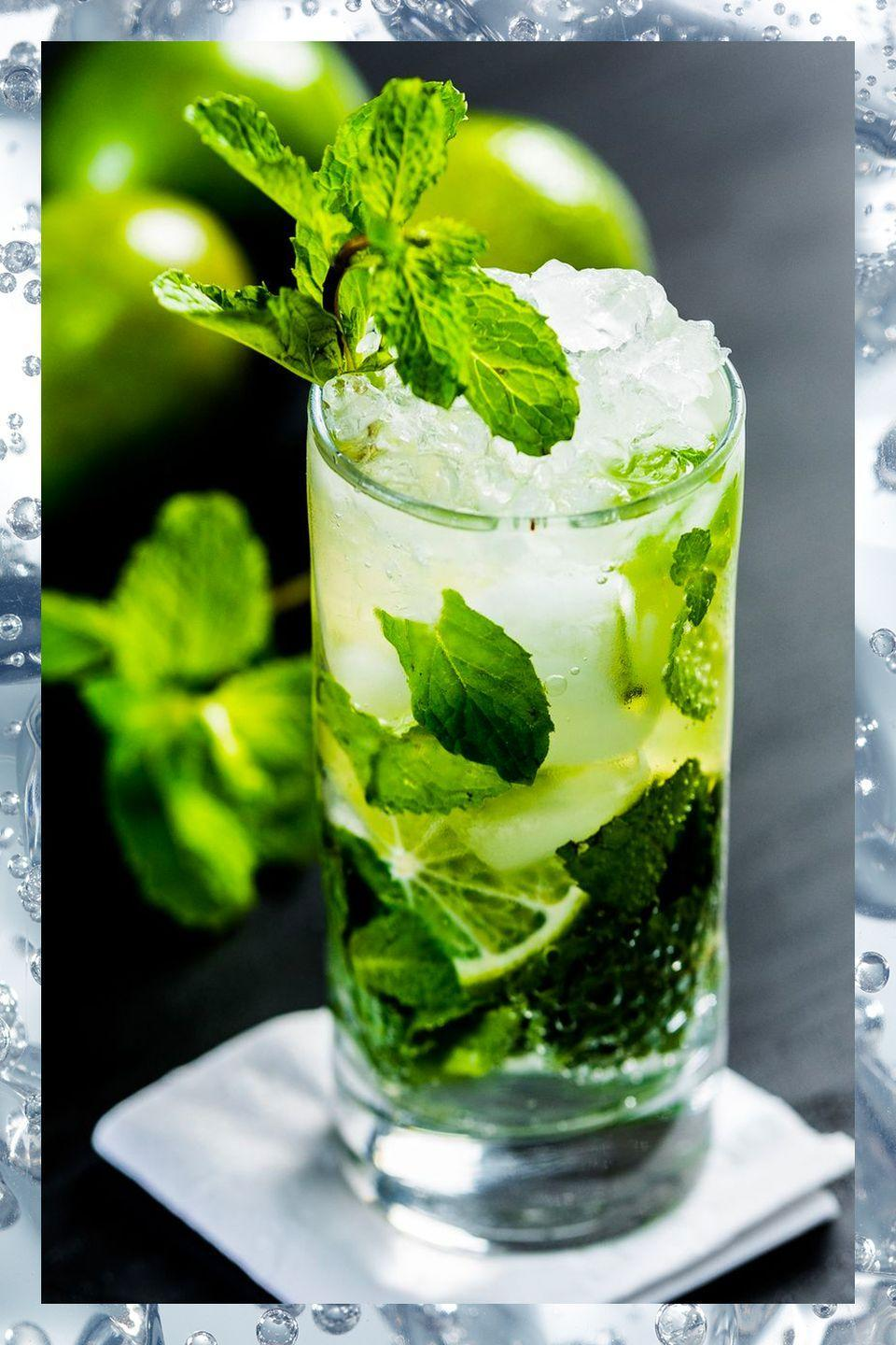 """<p>Originating in Cuba, this refreshing rum-based sip is filled with mint and lime—a perfect combination for sipping by the pool or beach. If you're craving a little literary cred, the mojito was also said to be a favorite of author <a href=""""http://www.townandcountrymag.com/leisure/arts-and-culture/a31827643/hemingway-quarantine-wife-mistress/"""" rel=""""nofollow noopener"""" target=""""_blank"""" data-ylk=""""slk:Ernest Hemingway."""" class=""""link rapid-noclick-resp"""">Ernest Hemingway. </a></p><p>- 3 mint leaves<br>- 2 oz white rum<br>- .75 oz lime juice<br>- .5 oz simple syrup</p><p><em>Muddle mint into a shaker tin, then add ice and all other ingredients. Shake to chill and strain into a highball glass with ice. Top with club soda if desired and garnish with mint. </em></p><p><strong>More:</strong><a href=""""http://www.townandcountrymag.com/leisure/drinks/g2737/rum-cocktails/"""" rel=""""nofollow noopener"""" target=""""_blank"""" data-ylk=""""slk:Delicious Rum Cocktail Recipes"""" class=""""link rapid-noclick-resp""""> Delicious Rum Cocktail Recipes</a><br></p>"""